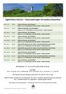 Jagdschloss Granitz Termine November und Dezember 2017