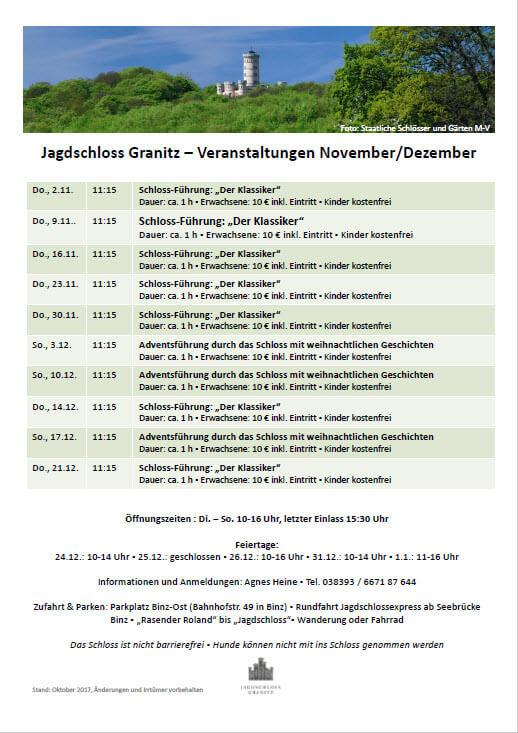 Jagdschloss Granitz dates for November and December 2017