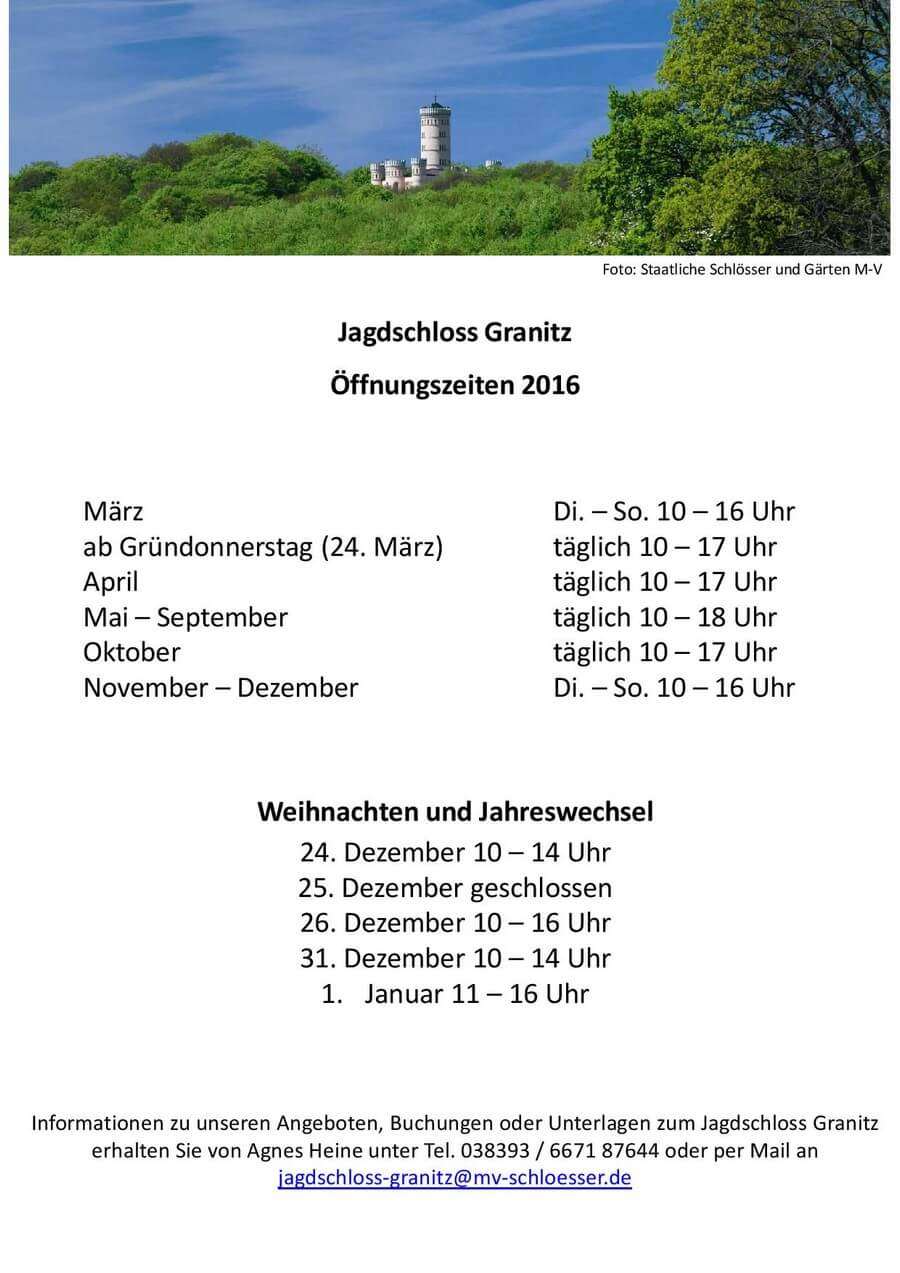 Öffnungszeiten 2016 Jagdschloss Granitz Binz