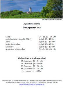 Jagdschloss Granitz: Öffnungszeiten 2016