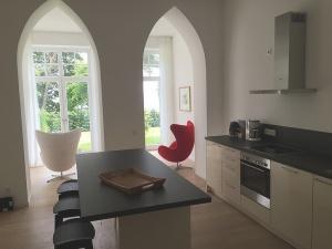 Blick aus der Küche in den Garten Wohnung 03