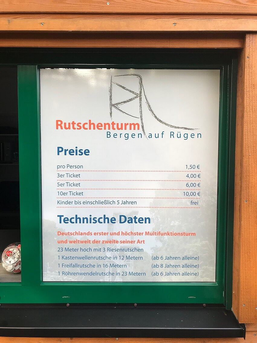 Infotafel Rutschenturm Bergen
