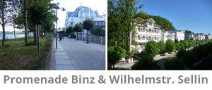 Promenade in Binz im Vergleich zur Wilhelmstr. Sellin