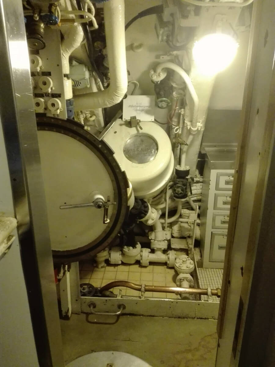 Below deck in the submarine