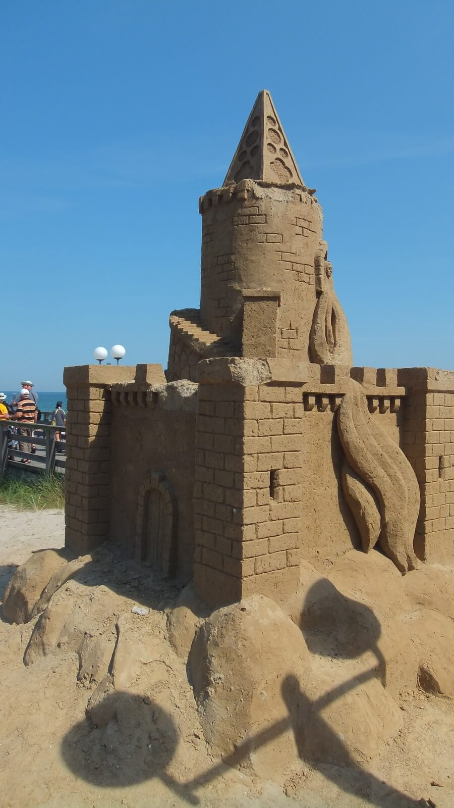 Sand sculpture castle on the Lake bridge