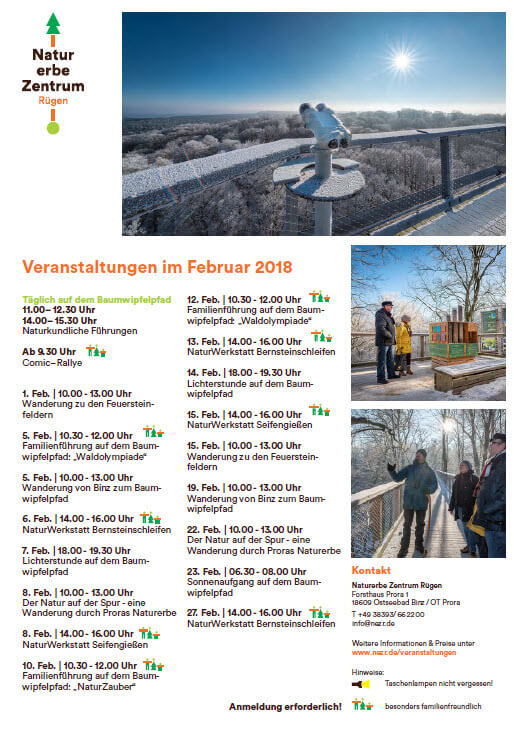 Program nature Heritage Centre Prora February 2018