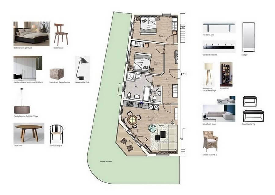 Floor plan of the apartment 13 with dog