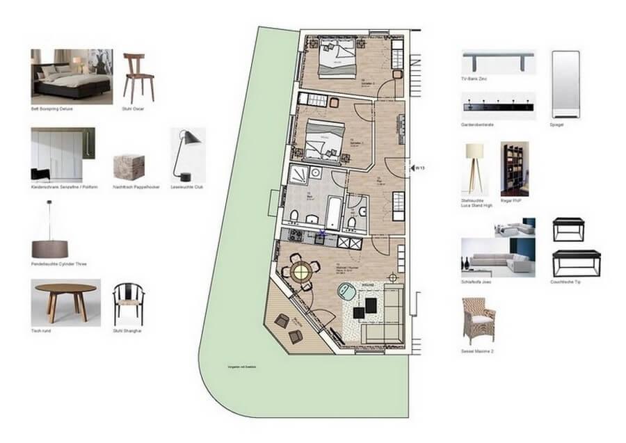 Grundriss der Wohnung 13 mit Hund