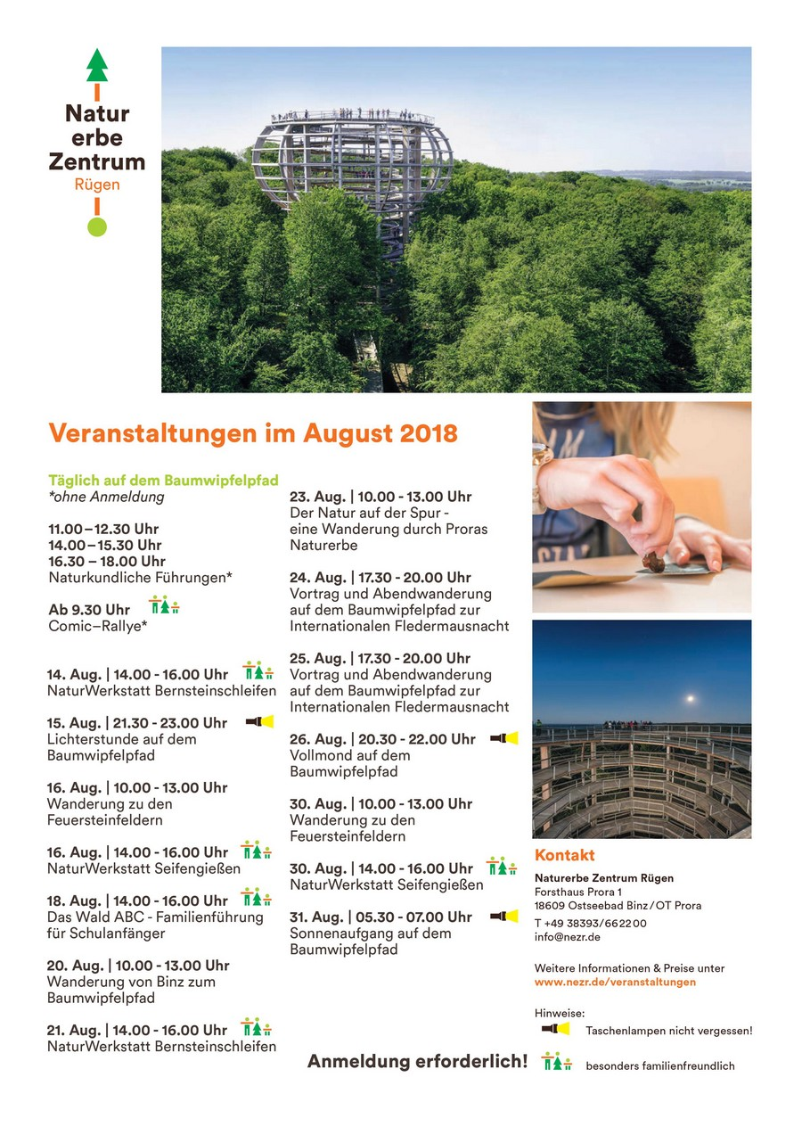 Programm Naturerbezentrum August 2018