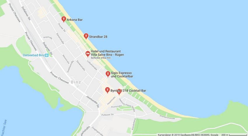 Bars in Binz © Google Maps