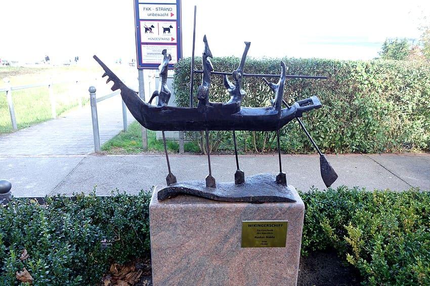 Viking ship on the beach promenade of BINZ