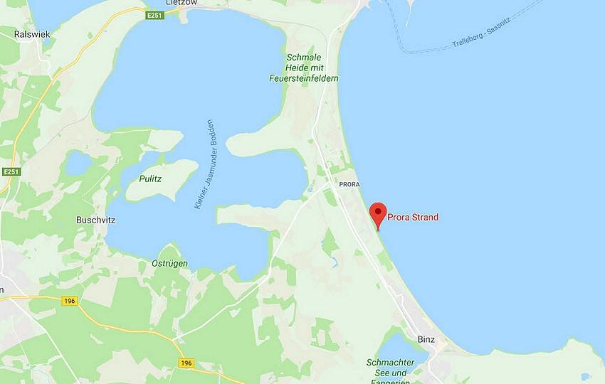Karte vom Strand © Googlemaps