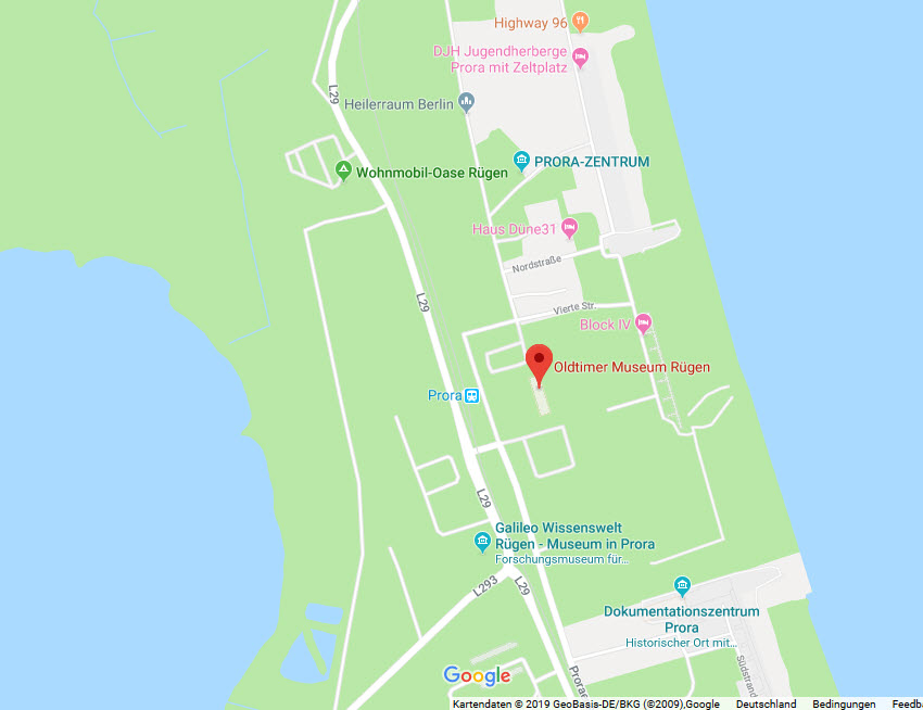 Karte Oldtimermuseum Prora © 2019 Google-Maps