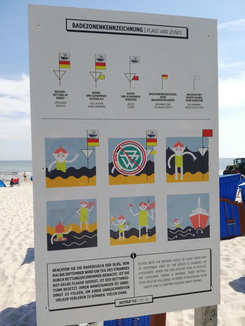 Badezonen und Flaggen des DLRG in Binz