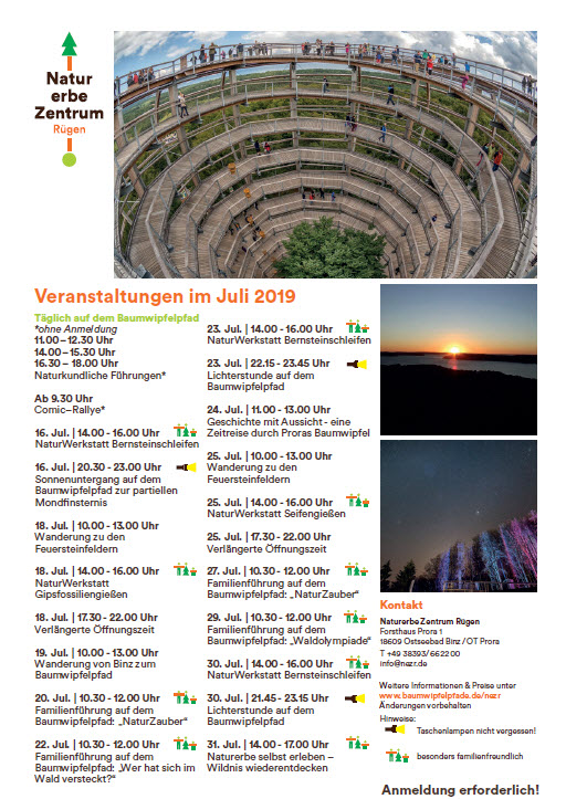 Natural Heritage Centre Prora-July events 2019