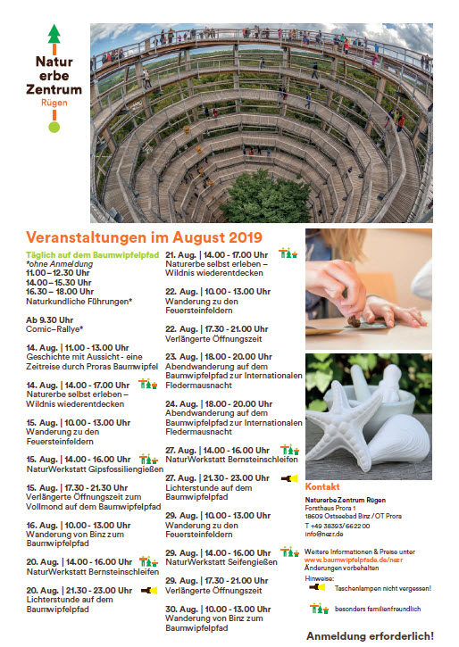 Natural Heritage Centre Prora-August events 2019
