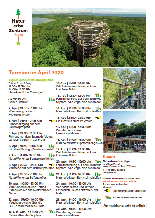Program Treetop Path Prora April 2020