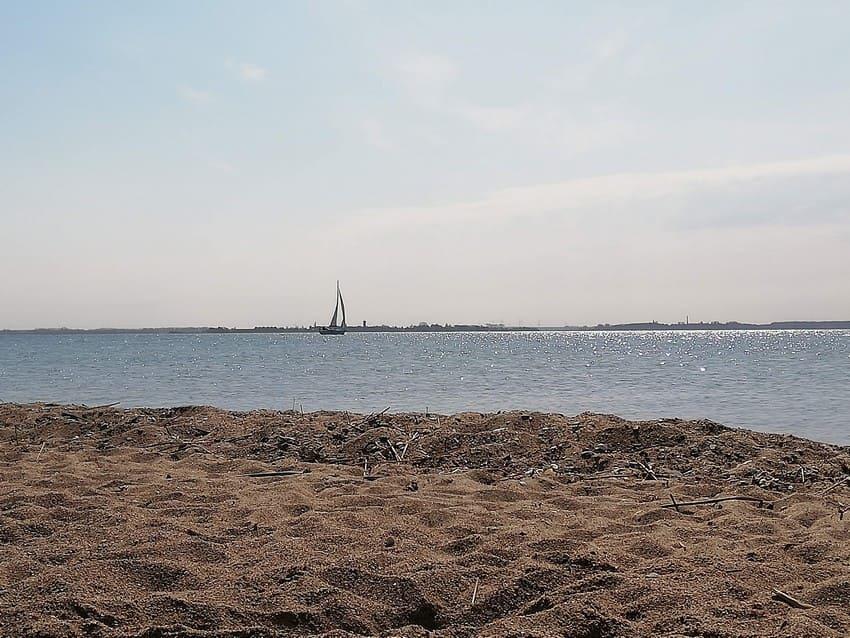Blick aufs Wasser in Richtung Insel Riems